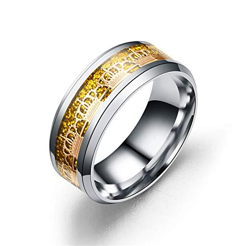 AueDsa Anelli Corona Anelli Uomo Acciaio Inossidabile Oro Argento Taglia 27