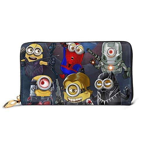 Leder Clutch Super Hero Mi-Nio-N Brieftasche Reißverschluss Damen Mode Wristlet Geldbörsen Tasche Telefon Kredit Multi Kartenhalter Organizer Brieftaschen