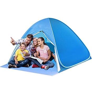 SAEYON L Tente de Plage, Pop Up Tente avec Fermeture à glissière Porte, Tente Anti UV50+ Automatique Instant Portable Tente pour 2-4 Personnes, Tente de Camping pour Famille, Randonnée, Pêche, Bleu