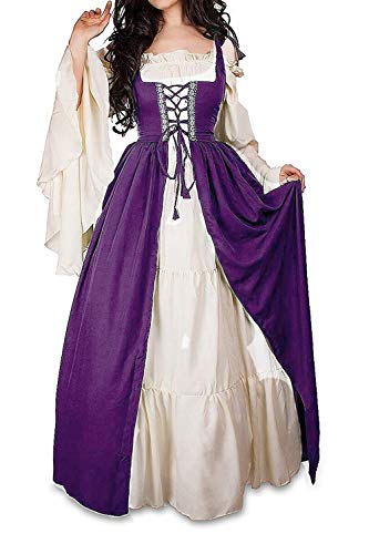 Abaowedding Womens's Medieval Renaissance Costume Cosplay Chemise and Over Dress Small/Medium Plum and Ivory