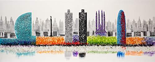 Cuadro Pintado Perfil de Barcelona 150x60 cm, con Piedras Brillantes, Torre Agbar, Colón, Sagrada Familia, Hotel Vela.100% Original, sobre Lienzo, Listo para Colgar