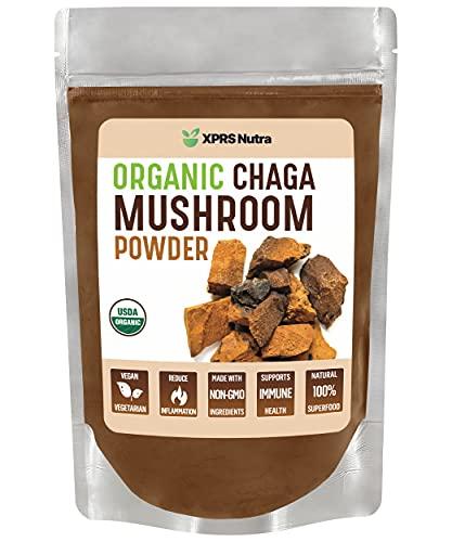 XPRS Nutra Organic Chaga Mushroom Powder - Premium USDA Organic Chaga Mushrooms Powder - Chaga Powder Supports Immune Health - Vegan Friendly Superfood for Chaga Tea and Beverages (8 oz)