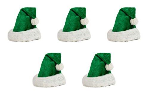 Ciffre 5 er Set Weihnachtsmütze Nikolausmütze Plüsch Rand Grün Weihnachtsfeier X58