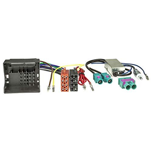 tomzz Audio 7057-003 Radio Adapter Kabel passend für Audi Skoda Seat VW Quadlock auf ISO + Diversity Antennenadapter mit Phantomeinspeisung Fakra auf DIN
