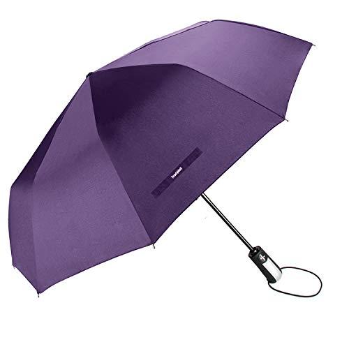 TradMall Travel Umbrella Windproof with 46 Inches Large Canopy 10 Reinforced Fiberglass Ribs Ergonomic Handle Auto Open & Close, Purple