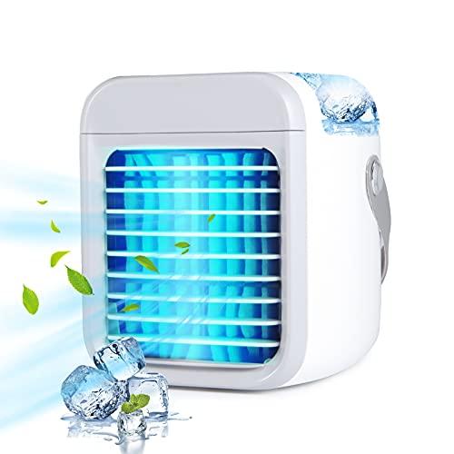 Mobile Klimageräte- 3-in-1 Tragbarer Mini Luftkühler mit 3 Lüftergeschwindigkeiten Air Cooler mit Wassertank für Heim und Büro (Gray)