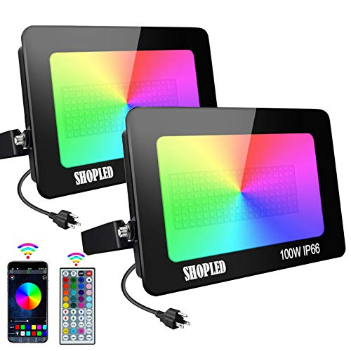 SHOPLED 2 Pack 100W RGB LED Flood Light Bluetooth Smart Outdoor Color Changing Led Floodlights 16 Million Colors IP66 Waterproof Dimmable Remote Uplighting for Garden Landscape Party Stage Lights