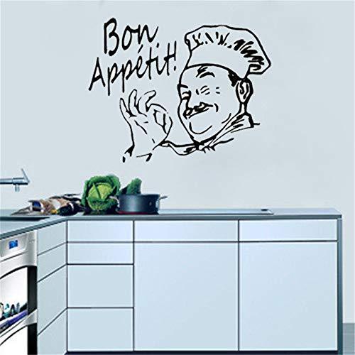 pegatinas de pared y murales Bon Appetit Chef Cocinero Dcal Sticker Home Design Hat para Cocina Restaurante Decoración del hogar