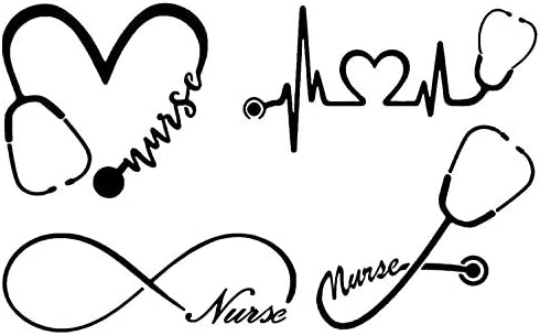 Nurse Decal 4 Pack Nurse Heart Heartbeat Nurse Infinity Nurse Stethoscope Nurse Black product image