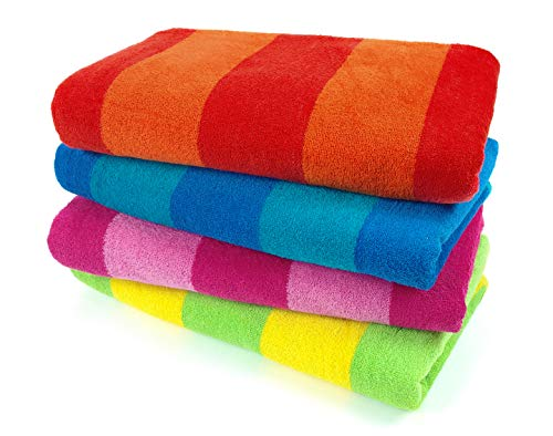 Kaufman 100% Cotton Velour Striped Beach Pool Towel