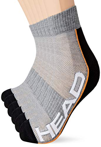 Head Performance Quarter Socks Multipack Calcetines, gris/negro, 35-38 Unisex Adulto