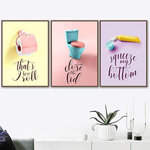 Bunte Toilettenpapier Zahnpasta Besen Wandkunst Leinwand Malerei Nordic Poster und Drucke Wandbilder für Badezimmer Home Decor 40x60cmx3 / Ungerahmt