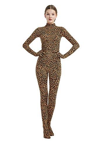 Full Bodysuit Womens Costume Without Hood Lycra Spandex Stretch Zentai Unitard Body Suit (Medium, Leopard)