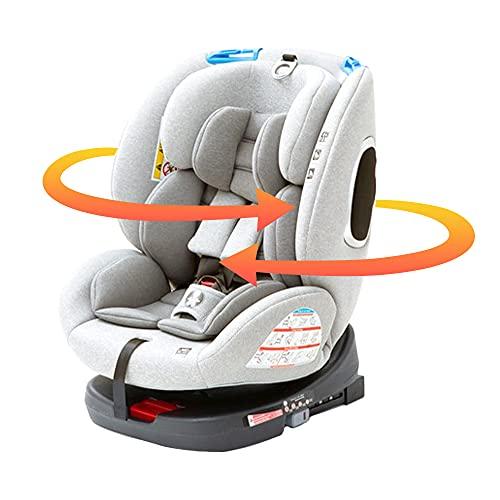 アイリスプラザISOFIX固定チャイルドシート回転式新生児から使えるジュニアシートベビーシート(0才頃~10才頃対象)グレー0か月~(1年保証)4571303934034