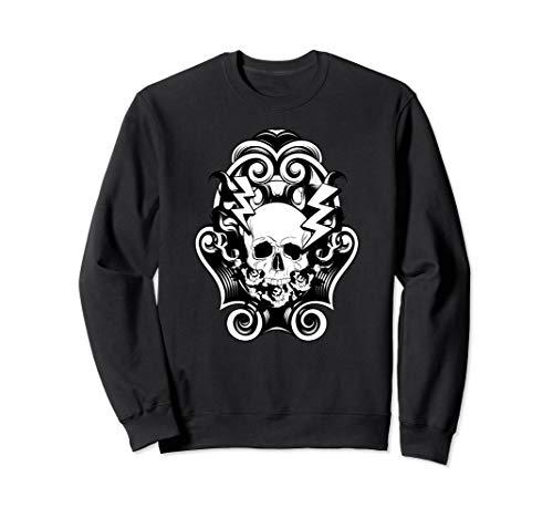 Totenkopf & Blitz Tattoo Biker Black Metal Musikliebhaber Sweatshirt