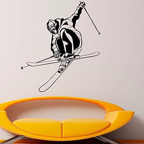 Esquiador jugando a esquiar deporte calcomanías de pared decoración del hogar sala de estar dormitorio de niños pegatina de pared decorativa murales de arte A1 48x43cm