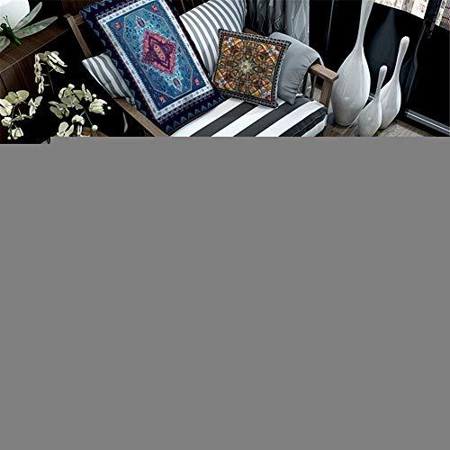QALLP Runde Teppich Klassischer Wetterfest Achteckstern Orange Blau Für Wohnzimmer Esszimmer Wohn Flur Pastellfarben Wohnzimmer Fussabstreifer rutschfest Und Waschbar Fußabtreter R5626 80X80Cm