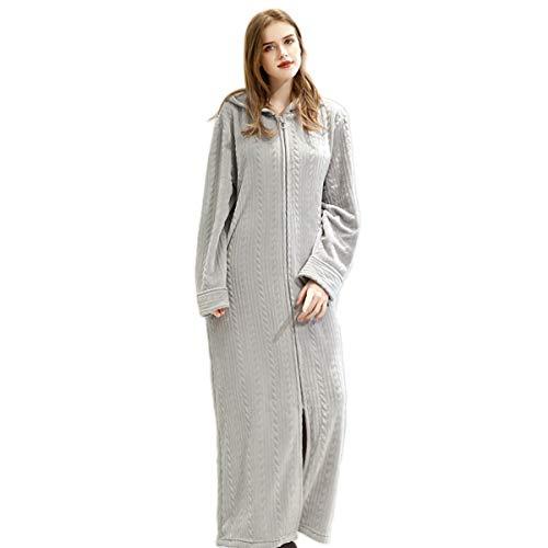 CNMF Badjas met capuchon, uniseks, dames, lange dikke lange mouwen met ritssluiting, taille-flanel, effen gebreid vest, voor thuis, absorberend, zacht en comfortabel, warme pyjama