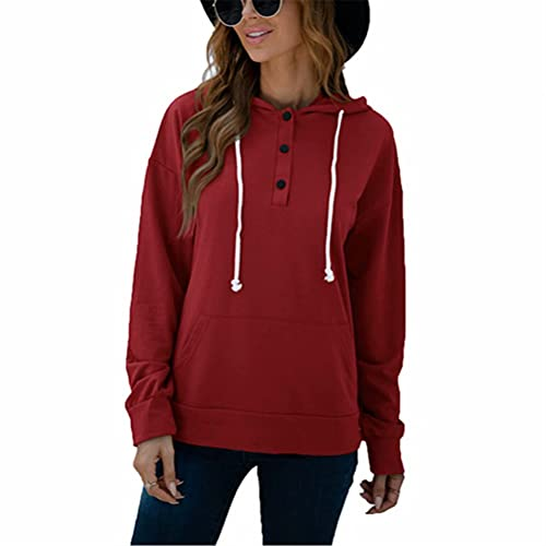 ZFQQ Otoño suéter con Bolsillo de botón con cordón y Capucha en Color Liso para Mujer