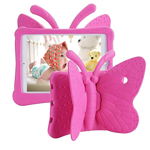 Tading iPad 6th Generation Case for Kids, iPad 9.7 inch Case, Light Weight Shockproof EVA Foam Protective Tablet Stand Cover Holder for Apple iPad Air/Air 2 iPad 9.7 2017/2018 - Cute Butterfly, Rose