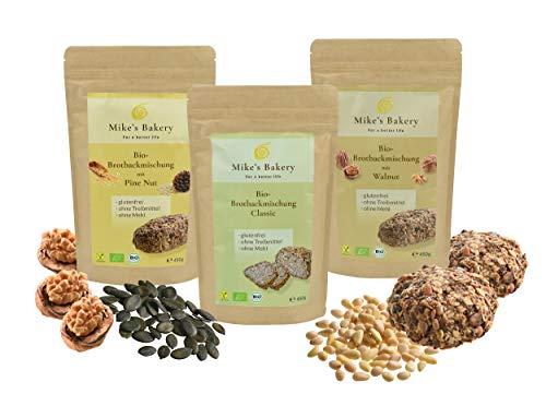 Mike's Bakery - Probierset Bio Brot Backmischungen (Walnut, Classic, Pine Nut) – 1350g, glutenfrei, vegan, zuckerfrei, ballaststoffreich, reich an ungesättigten Fettsäuren