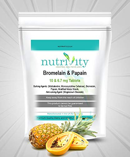 Bromelain Papain tabs 10/6.7mg Digestive Protein enzymes by Nutrivity (60)