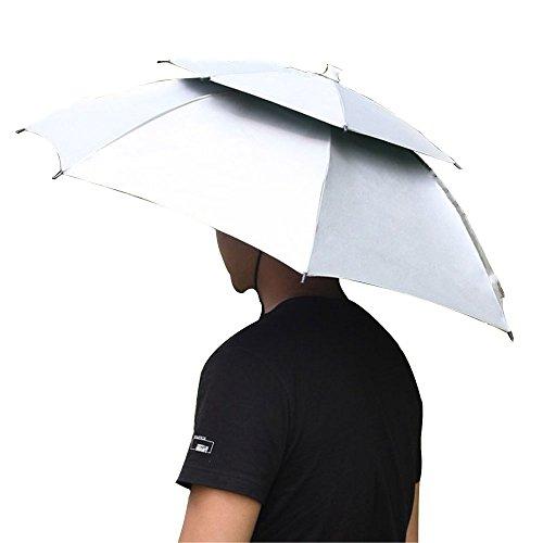 Iven Angelschirm 2 Schicht Zusammenklappbar Sonnenschirm Regenhut Regenschirm Gap für Wandern Campin