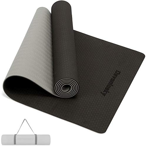 Devonlosky Yoga Mat, Non-slip Eco Friendly Exercise Yoga Mat for Men and Women, 1/4-Inch Thick High Density Pro Mat with Carrying Strap for Yoga Pilates and Fitness Exercise (Black/Gray)