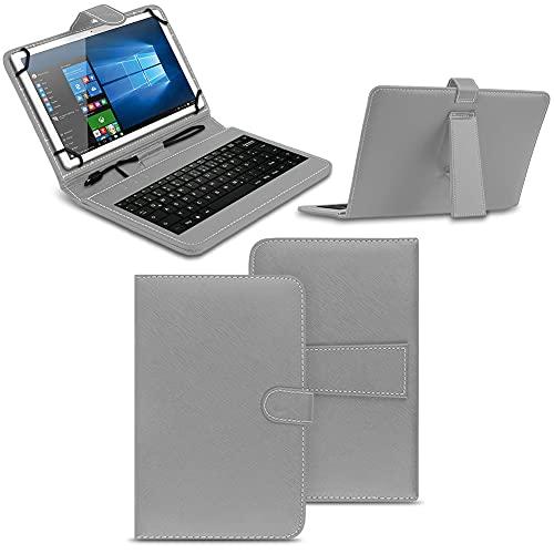 NAmobile Tastatur Schutzhülle kompatibel für Wortmann Terra Pad 1006 Tasche Keyboard USB Hülle QWERTZ Standfunktion Universal Cover, Farben:Grau