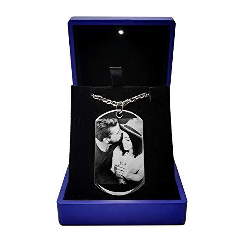 Halsketten mit Fotogravur personalisierte Foto Anhänger mit wunschgravur Fotogravur
