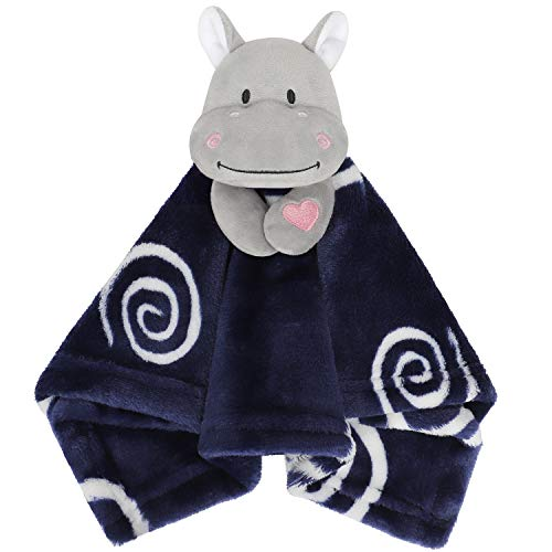 TILLYOU Plush Lovey Toy for Baby Boys 2Pack Security Blanket Set for Infant or Newborn Stuffed Animal Hippo  Small Soft Soothing Blanket for Teething Thermal Warm amp Comfrtable Navy Blue