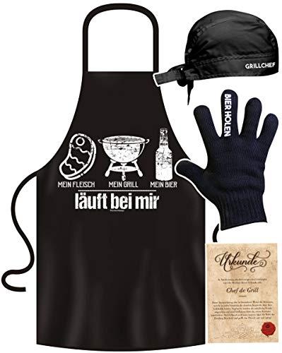 Grillset für Männer Geschenk Grillzubehör Set mit lustiger Grillschürze