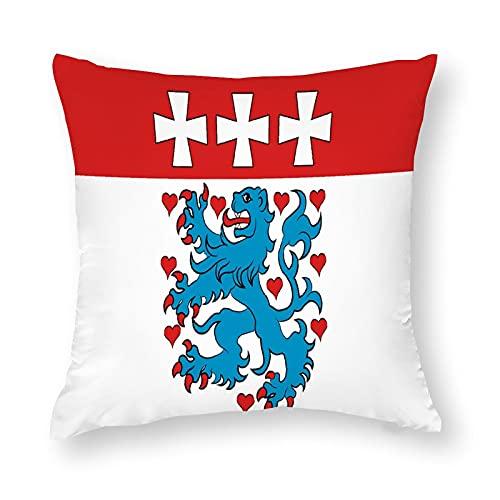 Flagge Uelzen in Niedersachsen Deutschland Kissenbezug Quadratisch Dekorative Kissenhülle für Sofa Couch Zuhause Schlafzimmer Indoor Outdoor Niedlich Kissenbezug 45,7 x 45,7 cm