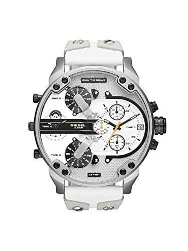 Unieke Stuff Shop Nieuwe mannen Diesel DZ7401 MR Daddy 2.0 Wit Meerdere Tijd Zone Chronograaf Horloge met Doos