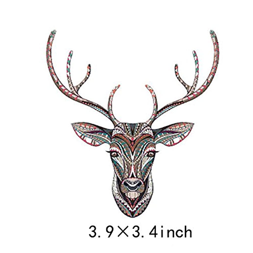 Artem Vintage Style Deer Head Stickers Thermal Transfer Appliques Iron on Patch for DIY Clothes Jacket 3.9X3.4 inch