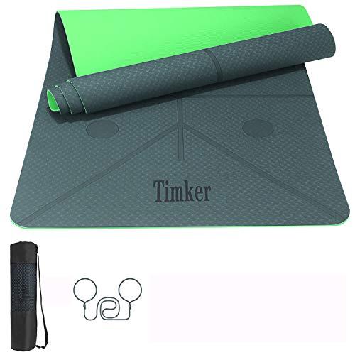 Timker Tappetino Yoga Tappetino per Il Fitness Tappetino per Esercizi TPE Materiale Ecologico per Body Building Fitness con Linea di Posizione con Tracolla e Borsa 183 * 61 * 0.6cm