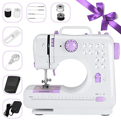 Portable Sewing Machine for Beginners, Household Electric Sewing Machine for Adult & Kids, Multi-Functional Hand-held Tailor Machine, 12 Floral Stitches/ 2 Speeds Double/Foot Pedal (Purple, Type 1)