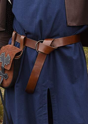 Mittelalter Gürtel aus Leder braun mit Messingring, ca. 150 cm lang – Wikinger LARP Ledergürtel von Battle-Merchant - 3
