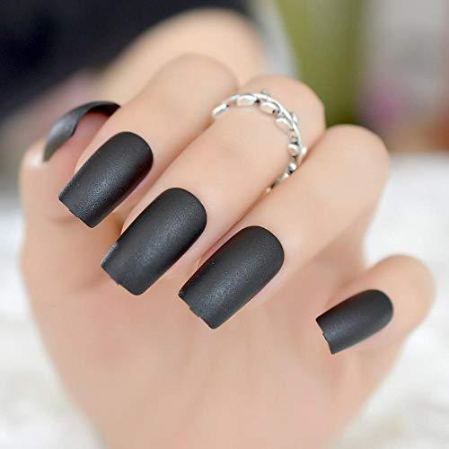 TJJF Ongles acryliques à presser mat Appuyez sur les ongles Noir Taille mince Conseils de manucure diy moyen-long Carré Top 24 Count