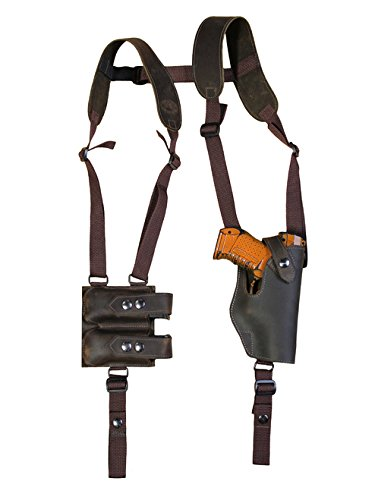 New Barsony Brown Leather Vertical Shoulder Holster w/ Dbl Mag Pouch for Springfield XDS 3.3in Right