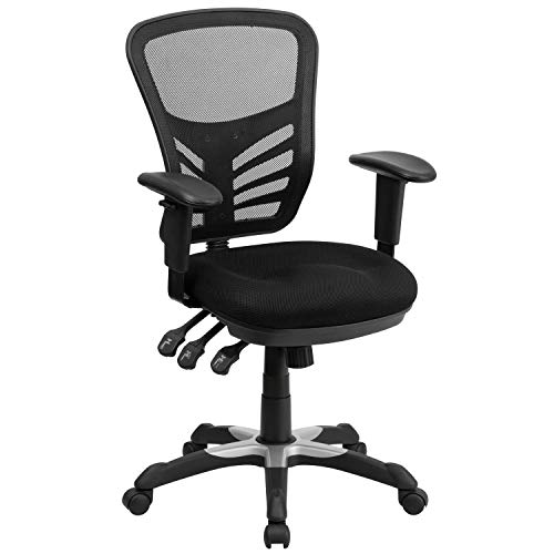 Flash Furniture Mid-Back Black Mesh Multifunction Executive Swivel Ergonomic Office Chair with Adjustable Arms