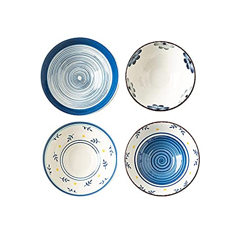 wsetrtg Tazones de cerámica para Sopa de Fideos con Ramen Cuenco de Ensalada de Porcelana Pintada de Color Udon soba Sopa Fideos Platos asiáticos Juego de 4
