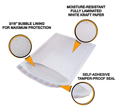 25 Pack White Kraft Padded envelopes 6x9 Bubble Mailers 6 x 9 Peel and Seal Bubble envelopes. Cushion envelopes for mailing, Packing & Packaging & Wrapping. Shipping mailers in Bulk, Wholesale Price. Photo #6