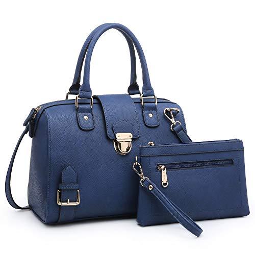 Dasein Women Barrel Handbags Purses Fashion Satchel Bags Top Handle Shoulder Bags Vegan Leather Work Bag Tote (Blue)
