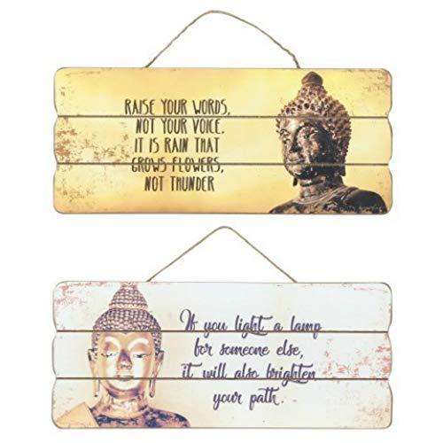 CAPRILO. Set de 2 Placas Pared Decorativas de Madera Buda. Cuadros y Apliques. Regalos Originales. Decoración Hogar. Muebles Auxiliares. 15 x 34 x 0.8 cm.