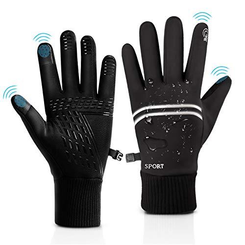 Handschuhe Herren Fahrradhandschuhe mit Touchscreen Funktion Winddichte Anti-Rutsch Wasserdicht Winterhandschuhe Warme für Joggen Cycling Lauf Herren Schwarz(L) (Schwarz, L)