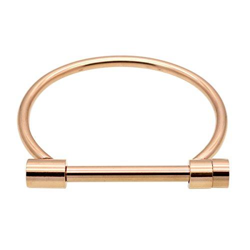 Anbala - Brazalete de acero de titanio con forma de grillete, pulsera de esclavas, con barra de cierre en forma de D, unisex