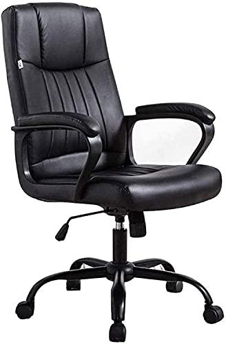 HJW Silla de oficina, silla de trabajo de gestión giratoria de cuero PU, silla ergonómica de respaldo alto para el hogar y la oficina con sillón de apoyo lumbar