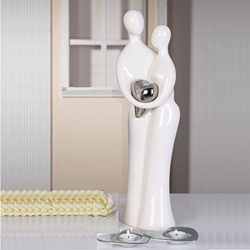 CASABLANCA Grande Sculpture « Couple » pour Mariage ou fiançailles en céramique Blanc/argenté Hauteur 39 cm