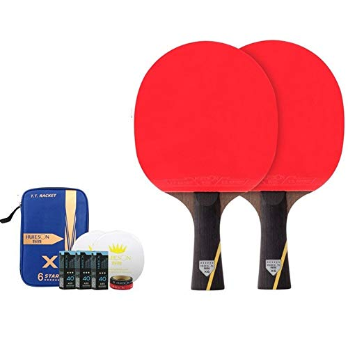 For Sale! NOLOGO FDBB 6 Star Table Tennis Racket Sets Double Face Pimples-in Rubber Ping Pong Bat wi...